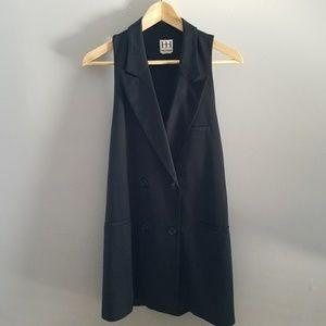 Haute Hippie Black Tuxedo Vest Dress Silk Wool SM